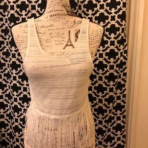 Festival White Cropped Crochet Fringe Tank by H&M